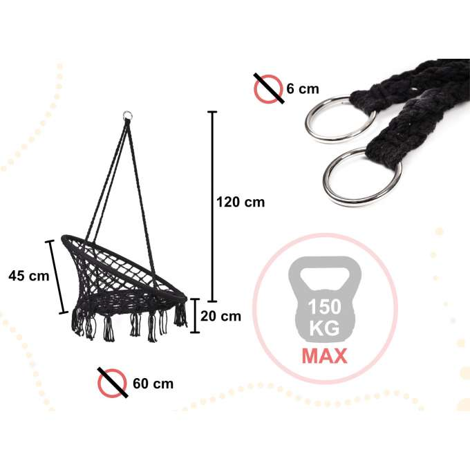 Huśtawka fotel bocianie gniazdo z oparciem czarna 80cm